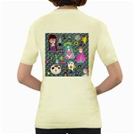 Blue Denim And Drawings Daisies Women s Yellow T-Shirt Back