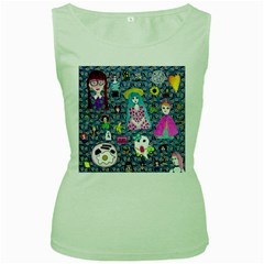 Blue Denim And Drawings Daisies Women s Green Tank Top