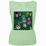 Blue Denim And Drawings Daisies Women s Green Tank Top Front