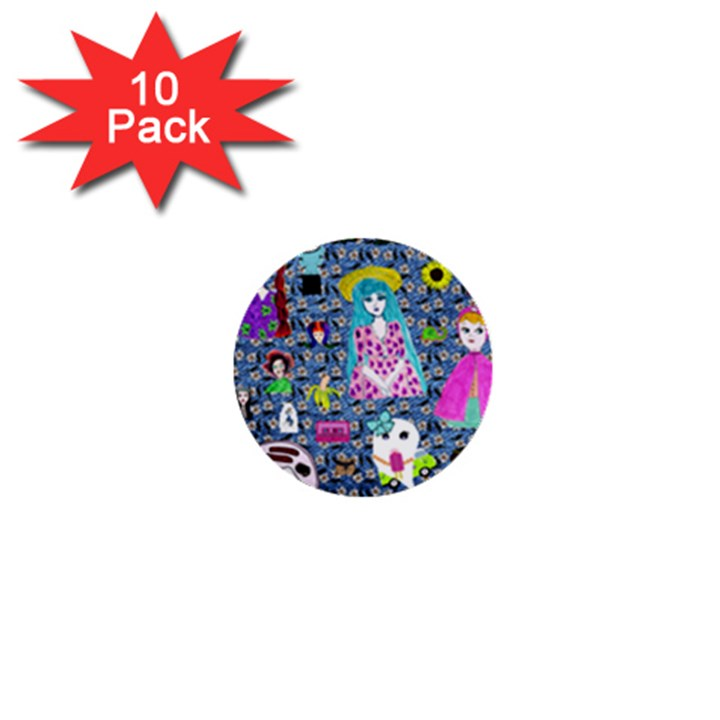 Blue Denim And Drawings Daisies 1  Mini Buttons (10 pack)
