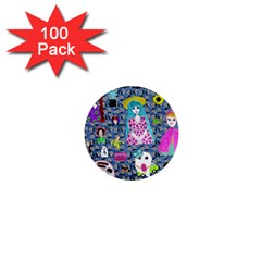 Blue Denim And Drawings Daisies 1  Mini Buttons (100 Pack)