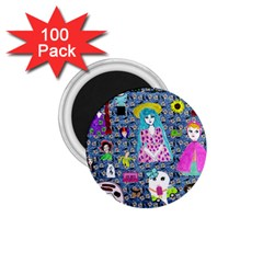 Blue Denim And Drawings Daisies 1 75  Magnets (100 Pack)
