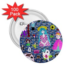 Blue Denim And Drawings Daisies 2 25  Buttons (100 Pack)