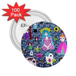 Blue Denim And Drawings Daisies 2.25  Buttons (100 pack)  Front