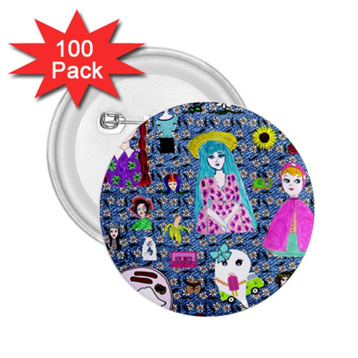 Blue Denim And Drawings Daisies 2.25  Buttons (100 pack)