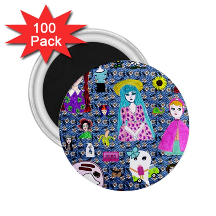 Blue Denim And Drawings Daisies 2.25  Magnets (100 pack)