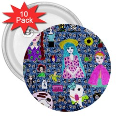 Blue Denim And Drawings Daisies 3  Buttons (10 Pack)