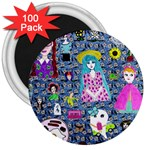Blue Denim And Drawings Daisies 3  Magnets (100 pack) Front