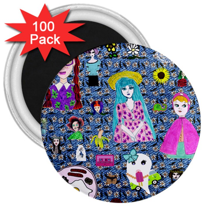 Blue Denim And Drawings Daisies 3  Magnets (100 pack)