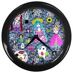 Blue Denim And Drawings Daisies Wall Clock (Black) Front