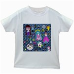 Blue Denim And Drawings Daisies Kids White T-Shirts Front