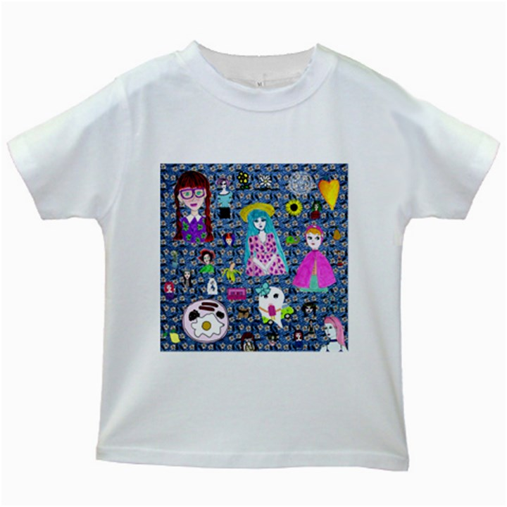 Blue Denim And Drawings Daisies Kids White T-Shirts