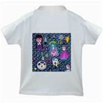 Blue Denim And Drawings Daisies Kids White T-Shirts Back