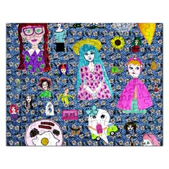 Blue Denim And Drawings Daisies Rectangular Jigsaw Puzzl