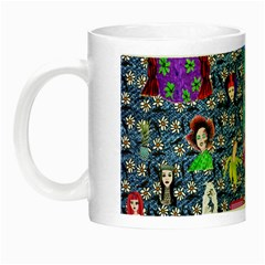 Blue Denim And Drawings Daisies Night Luminous Mugs by snowwhitegirl