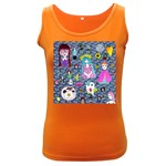 Blue Denim And Drawings Daisies Women s Dark Tank Top Front
