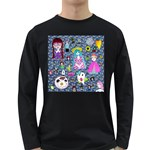 Blue Denim And Drawings Daisies Long Sleeve Dark T-Shirt Front