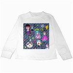 Blue Denim And Drawings Daisies Kids Long Sleeve T-Shirts Front