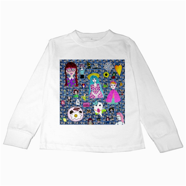 Blue Denim And Drawings Daisies Kids Long Sleeve T-Shirts