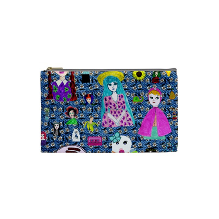 Blue Denim And Drawings Daisies Cosmetic Bag (Small)