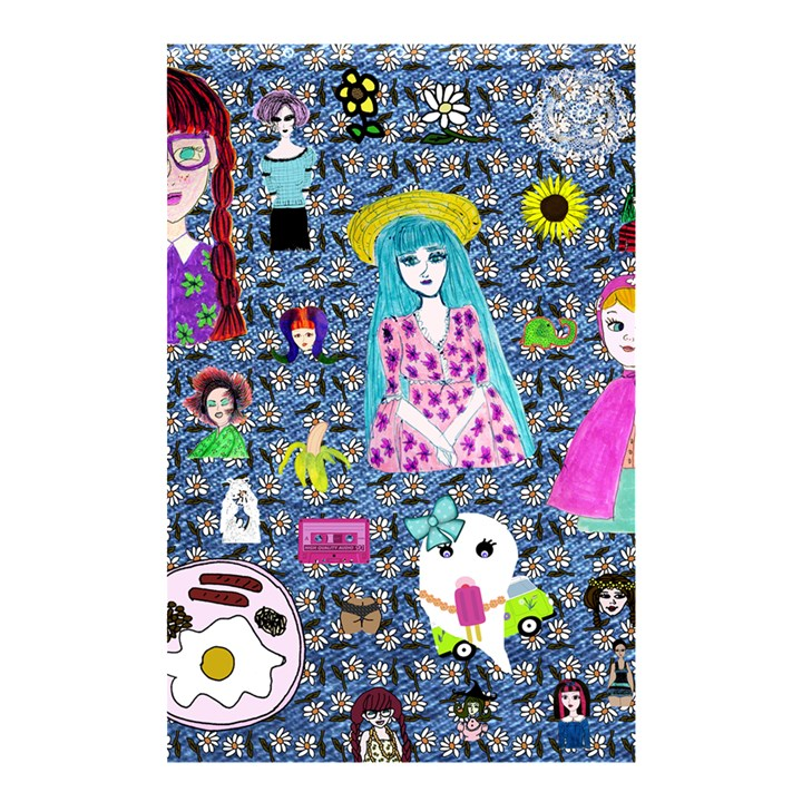 Blue Denim And Drawings Daisies Shower Curtain 48  x 72  (Small)