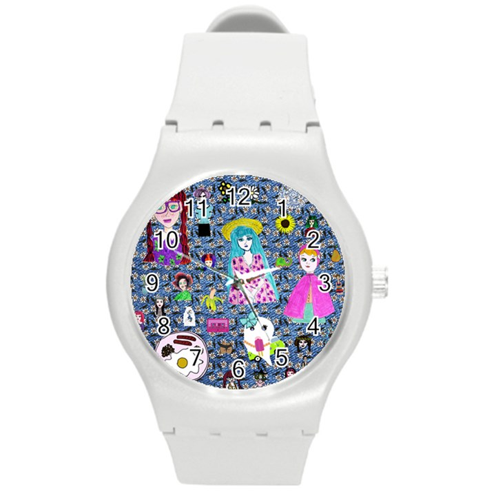 Blue Denim And Drawings Daisies Round Plastic Sport Watch (M)