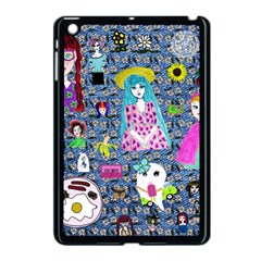 Blue Denim And Drawings Daisies Apple Ipad Mini Case (black)