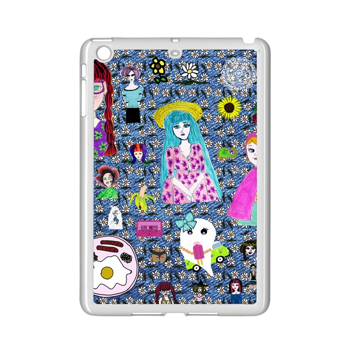 Blue Denim And Drawings Daisies iPad Mini 2 Enamel Coated Cases