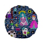 Blue Denim And Drawings Daisies Standard 15  Premium Round Cushions Back
