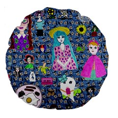 Blue Denim And Drawings Daisies Large 18  Premium Round Cushions