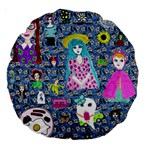 Blue Denim And Drawings Daisies Large 18  Premium Round Cushions Back