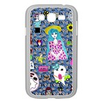 Blue Denim And Drawings Daisies Samsung Galaxy Grand DUOS I9082 Case (White) Front