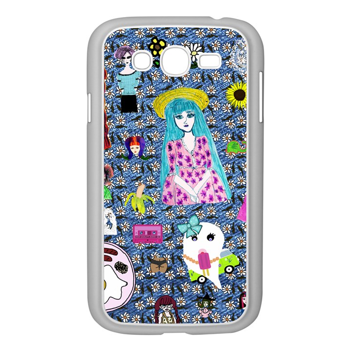 Blue Denim And Drawings Daisies Samsung Galaxy Grand DUOS I9082 Case (White)