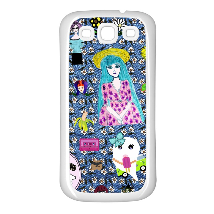 Blue Denim And Drawings Daisies Samsung Galaxy S3 Back Case (White)