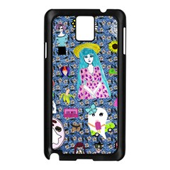 Blue Denim And Drawings Daisies Samsung Galaxy Note 3 N9005 Case (black)