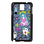 Blue Denim And Drawings Daisies Samsung Galaxy Note 3 N9005 Case (Black) Front