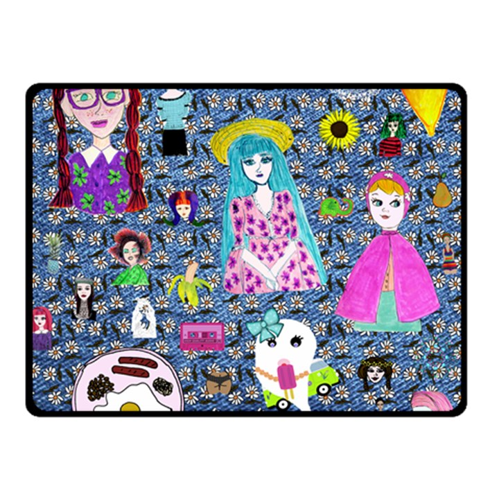 Blue Denim And Drawings Daisies Double Sided Fleece Blanket (Small)