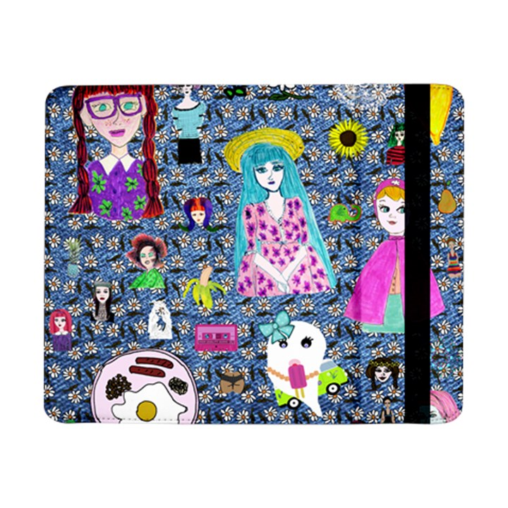 Blue Denim And Drawings Daisies Samsung Galaxy Tab Pro 8.4  Flip Case