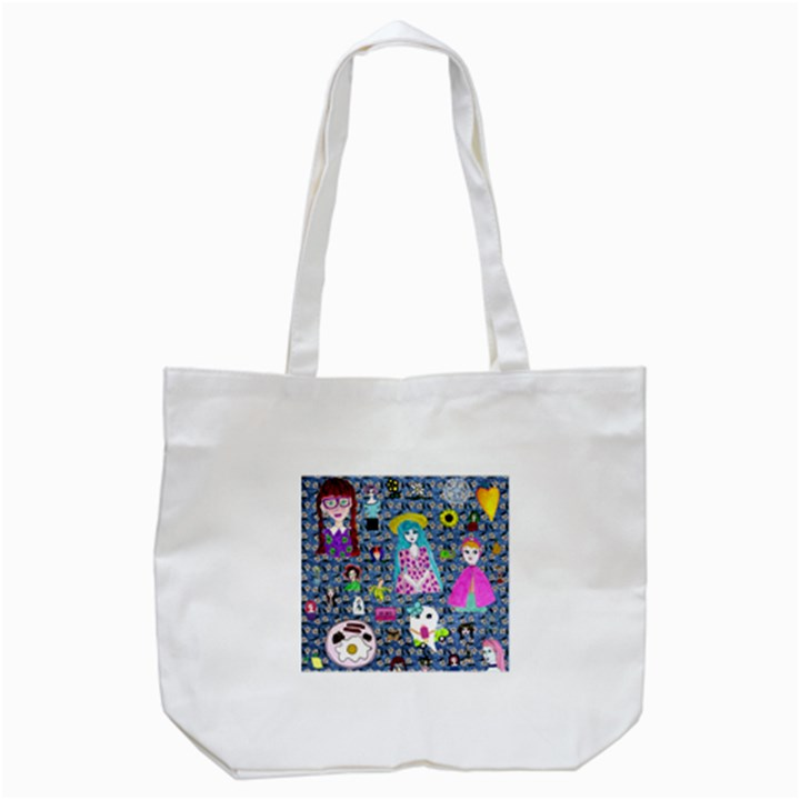 Blue Denim And Drawings Daisies Tote Bag (White)
