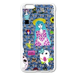 Blue Denim And Drawings Daisies Iphone 6 Plus/6s Plus Enamel White Case