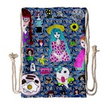 Blue Denim And Drawings Daisies Drawstring Bag (Large) Front