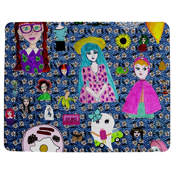 Blue Denim And Drawings Daisies Jigsaw Puzzle Photo Stand (Rectangular)