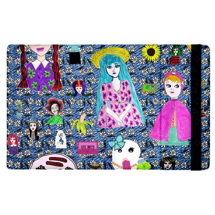 Blue Denim And Drawings Daisies Apple iPad Pro 9.7   Flip Case