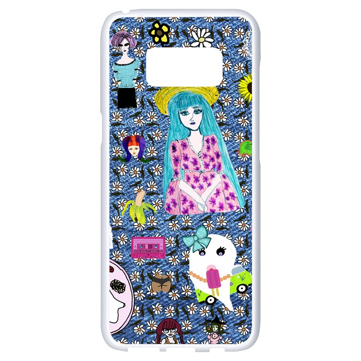 Blue Denim And Drawings Daisies Samsung Galaxy S8 White Seamless Case
