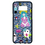 Blue Denim And Drawings Daisies Samsung Galaxy S8 Plus Black Seamless Case Front