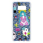 Blue Denim And Drawings Daisies Samsung Galaxy S8 Plus White Seamless Case Front