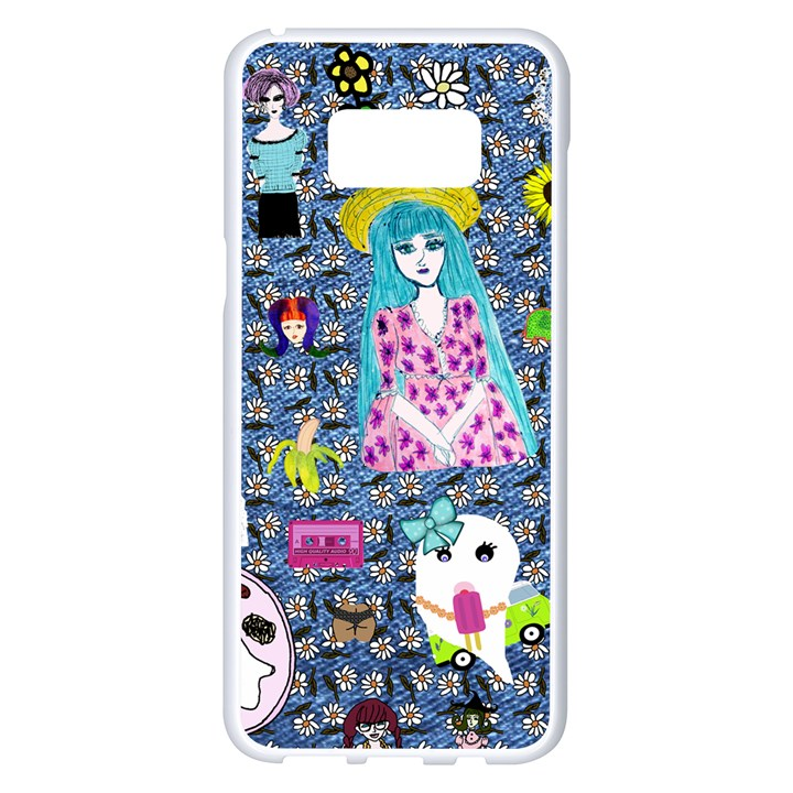 Blue Denim And Drawings Daisies Samsung Galaxy S8 Plus White Seamless Case