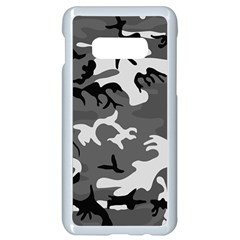 Army Winter Camo, Camouflage Pattern, Grey, Black Samsung Galaxy S10e Seamless Case (white)
