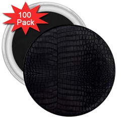 Black Crocodile Skin 3  Magnets (100 Pack) by LoolyElzayat