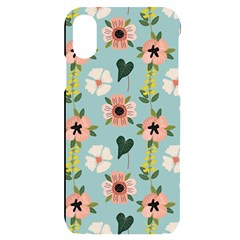 Flower White Blue Pattern Floral Iphone X/xs Black Uv Print Case